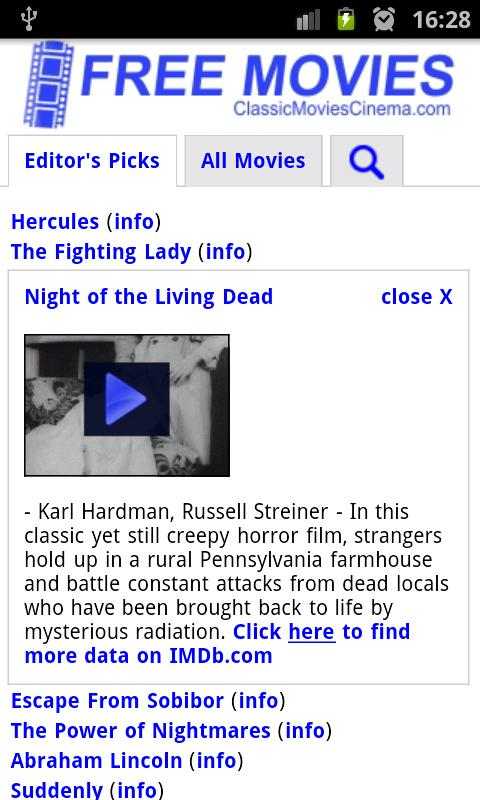 Free Movies Android App Screenshot
